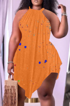Yellow Fashion Sexy Print Vests Asymmetrical O Neck Plus Size Two Pieces