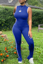 Blue Casual Sportswear Solid Basic O Neck Skinny Jumpsuits