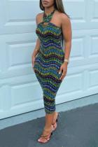 Multi-color Fashion Sexy Print Backless Halter Sleeveless Dress