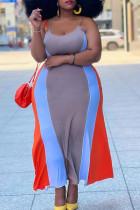 Dark Khaki Street Striped Split Joint U Neck Sling Dress Plus Size Dresses