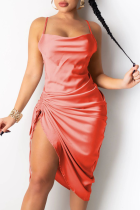 Tangerine Red Sexy Solid Split Joint Spaghetti Strap Irregular Dress Dresses