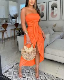 Tangerine Red Sexy Print High Opening Strapless Irregular Dress Dresses