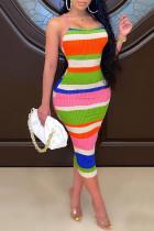 Multicolor Fashion Sexy Striped Backless Spaghetti Strap Long Dress