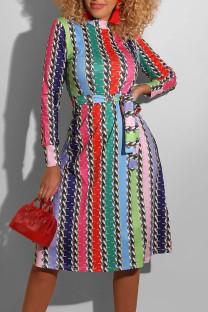 Multi-color Casual Striped Print Bandage Split Joint O Neck A Line Dresses