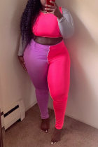 Pink Sexy Solid Split Joint O Neck Long Sleeve Two Pieces