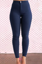 Navy Street Solid Zipper Skinny Mid Waist Pencil Solid Color Bottoms