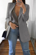 Grey Fashion Casual Solid Cardigan Turndown Collar Plus Size Coats