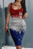 Blue Casual Print Split Joint U Neck A Line Dresses
