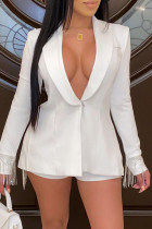White Fashion Casual Patchwork Tassel Turndown Collar Long Sleeve Two Pieces