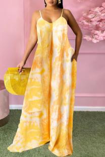 Yellow Casual Print Split Joint Spaghetti Strap Straight Plus Size Dresses