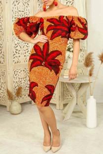 Red Fashion Print Backless Off the Shoulder Short Sleeve Dress