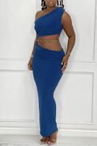 Blue Fashion Sexy Solid Backless One Shoulder Sleeveless Two Pieces (Without Waist Chain)