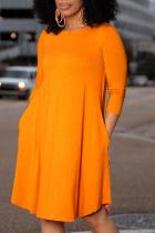 Orange Casual Solid Split Joint O Neck Cake Skirt Dresses