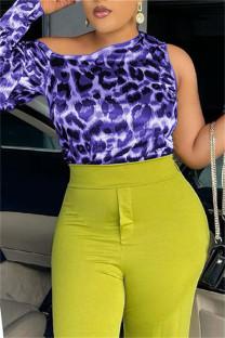 Purple Fashion Casual Print Leopard Asymmetrical O Neck Mid Waist Tops