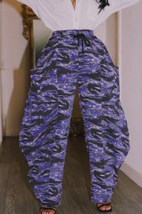 Purple Street Print Split Joint Pocket Loose High Waist Straight Full Print Bottoms