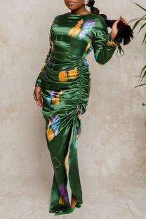 Green Sexy Print Hollowed Out O Neck Irregular Dress Dresses