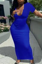 Deep Blue Fashion Casual Solid Basic V Neck Short Sleeve Dress