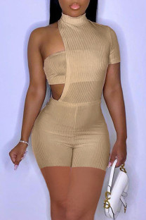 Khaki Sexy Solid Hollowed Out Split Joint Asymmetrical Half A Turtleneck Skinny Jumpsuits