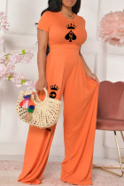 Orange Fashion Casual Print Basic O Neck Short Sleeve Two Pieces