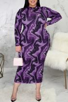 Purple Sexy Print Split Joint Half A Turtleneck Pencil Skirt Plus Size Dresses