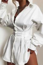 White Street Solid Split Joint Fold Turndown Collar Shirt Dress Dresses