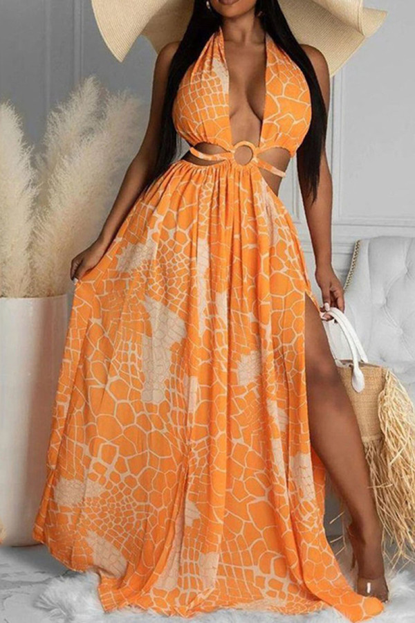 Orange Sexy Print Bandage Hollowed Out Backless Zipper Halter Beach Dresses