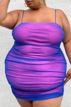 Purple Sexy Solid Split Joint Spaghetti Strap Pencil Skirt Plus Size Dresses
