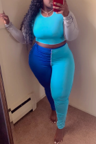 Blue Sexy Solid Split Joint O Neck Long Sleeve Two Pieces