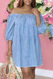 Blue Fashion Casual Solid Backless Off the Shoulder Long Sleeve Dresses