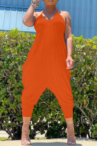 Orange Sexy Casual Solid Backless Spaghetti Strap Regular Jumpsuits