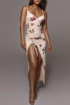 Khaki Sexy Print Split Joint Spaghetti Strap Irregular Dress Dresses