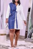 Blue Casual Striped Split Joint Turndown Collar Shirt Dress Plus Size Dresses