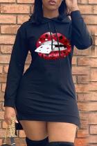 Black Casual Print Split Joint Hooded Collar Pencil Skirt Dresses
