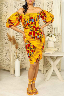 Yellow Fashion Print Backless Off the Shoulder Short Sleeve Dress