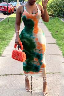 Orange Green Sexy Tie Dye Hollowed Out Split Joint U Neck Pencil Skirt Dresses