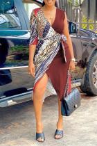 Burgundy Fashion Casual Print Split Joint V Neck Irregular Dress