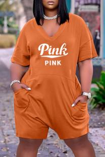 Orange Fashion Casual Letter Print Basic V Neck Plus Size Jumpsuits
