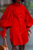 Red Fashion Elegant Solid Split Joint Fold Turndown Collar Tops