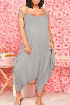 Grey Casual Solid Split Joint U Neck Harlan Jumpsuits