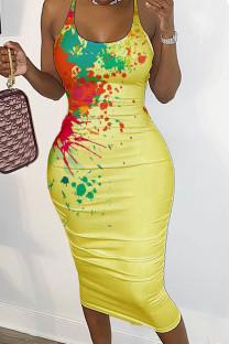 Yellow Sexy Print Split Joint Backless Spaghetti Strap Pencil Skirt Dresses