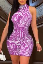 Purple Sexy Print Mesh Half A Turtleneck Pencil Skirt Dresses