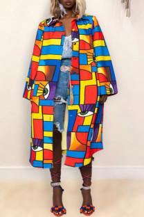 Colour Fashion Print Split Joint Buckle Turndown Collar Outerwear