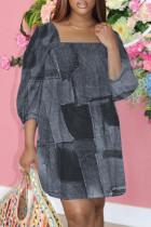 Black Fashion Casual Print Basic Square Collar Plus Size Dresses