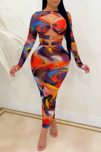 Multicolor Fashion Sexy Print Hollowed Out O Neck Long Sleeve Dresses
