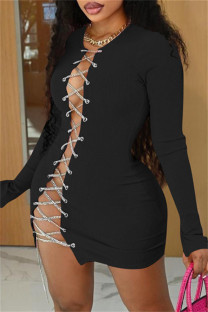 Black Fashion Sexy Solid Bandage Hollowed Out O Neck Long Sleeve Dresses