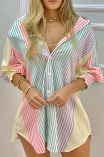 Colour Casual Striped Print Split Joint Buckle Turndown Collar Tops