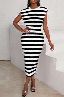 Stripe Fashion Casual Striped Print Basic O Neck Long Dress