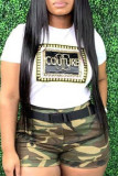Camouflage Fashion Letter Print Camouflage Print Without Belt O Neck Plus Size Two Pieces