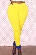 Yellow Street Solid Zipper Skinny Mid Waist Pencil Solid Color Bottoms