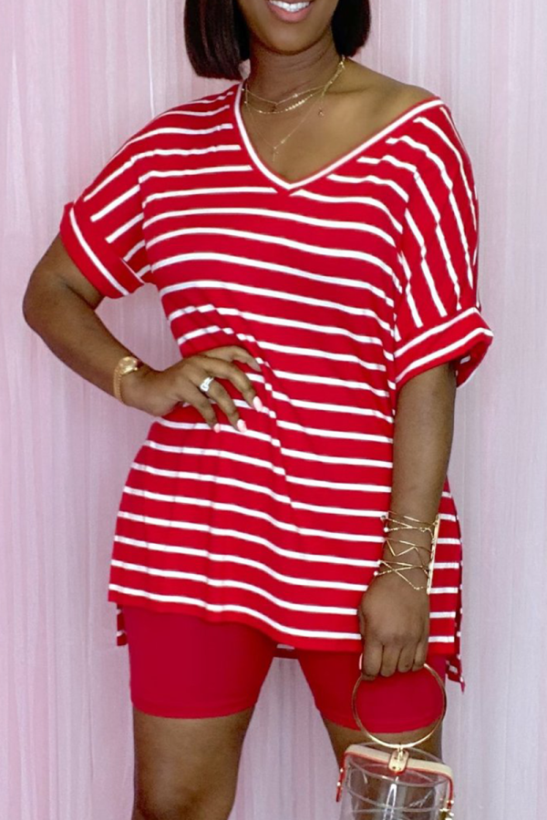 Red Casual Striped Split Joint V Neck Short Sleeve Two Pieces